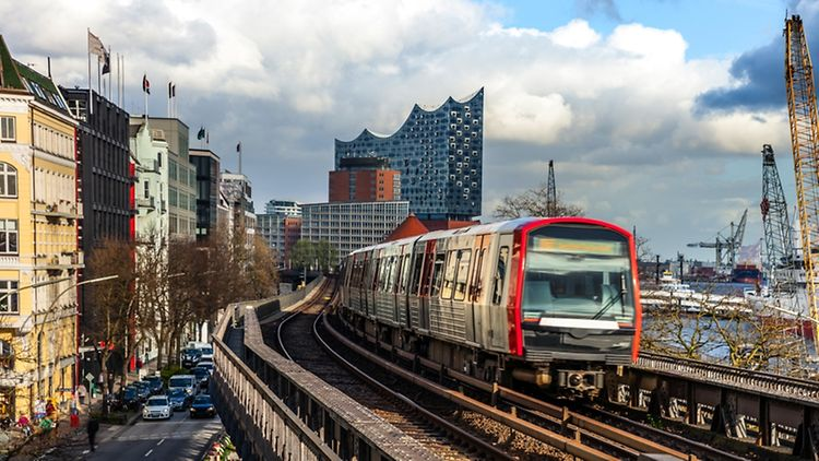 Metro train overground in Hamburg