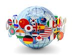Globus mit Flaggen / Globe with Flags